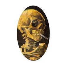 Van Gogh Skull With Burning Cigare Oval Car Magnet