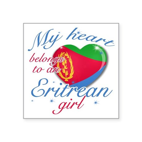 "eritrean. girl Square Sticker 3"" x 3"""