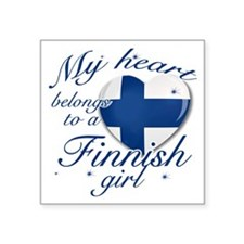 """finnish. girl png Square Sticker 3"""" x 3"""""""