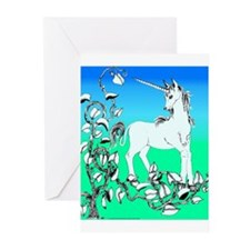 Unicorn and Vine Blue/Green Greeting Cards (Packag