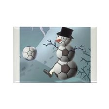 Soccer Christmas Snowman Rectangle Magnet (10 pack