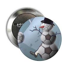 "Soccer Christmas Snowman 2.25"" Button (10 pack)"