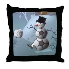 Soccer Christmas Snowman Throw Pillow