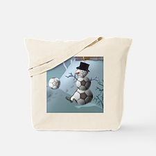 Soccer Christmas Snowman Tote Bag