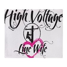 high voltage line wife white shirt Throw Blanket