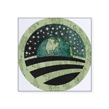 "Obama Earth Logo Square Sticker 3"" x 3"""