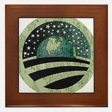 Obama Earth Logo Framed Tile