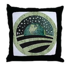 Obama Earth Logo Throw Pillow