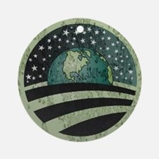 Obama Earth Logo Round Ornament