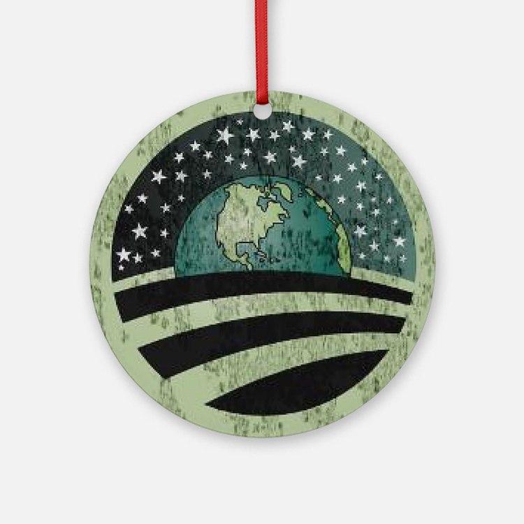 Obama Earth Logo Round Ornament