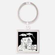 6168_building_cartoon Square Keychain