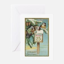 Vintage Christmas Sparrows Greeting Card