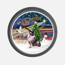 XmasMagic-AussieShep1 Wall Clock