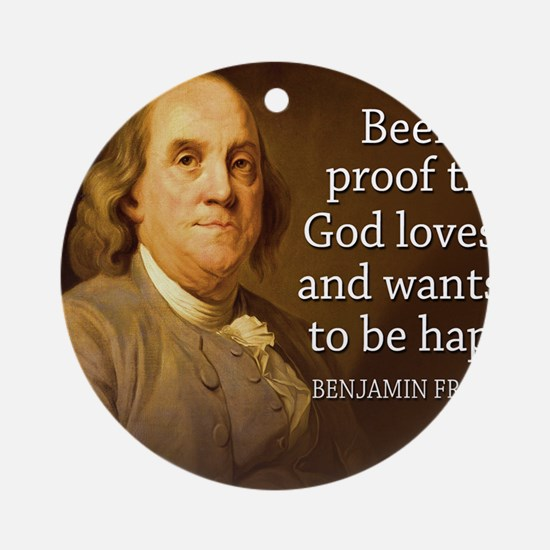 Ben Quote Beer Round Ornament