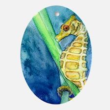 Yellow Pygmy Seahorse Study Oval Ornament