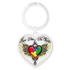 autism - Love Needs No Words Heart Keychain
