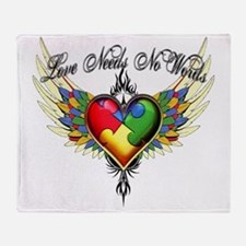 autism - Love Needs No Words Throw Blanket