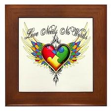 autism - Love Needs No Words Framed Tile