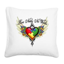 autism - Love Needs No Words Square Canvas Pillow