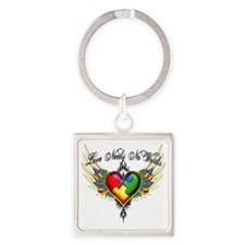 autism - Love Needs No Words Square Keychain