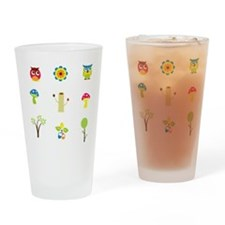 Owls, Trees and Mushrooms Drinking Glass