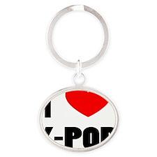 I LOVE K-POP Oval Keychain