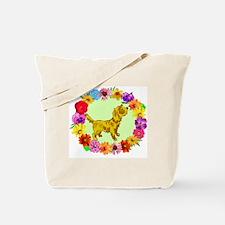 Dog in Flower Frame Tote Bag