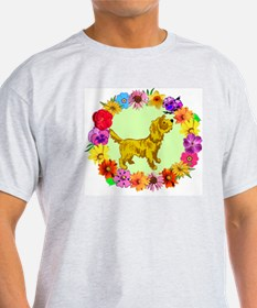 Dog in Flower Frame T-Shirt