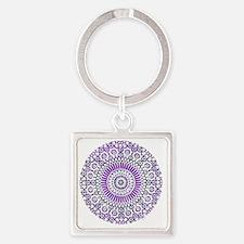 cp mosaic circle purple Square Keychain