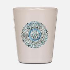 cp mosaic circle lt blue Shot Glass