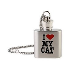 HeartCatKeyRectWhite-b Flask Necklace