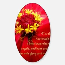 Closeup Red Flower Psalm 8:5 Decal