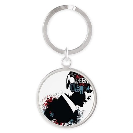 Young and Powerful for Obama Round Keychain