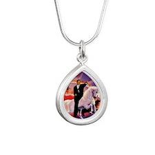 Obama on Unicorn Silver Teardrop Necklace