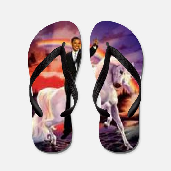 Obama on Unicorn Flip Flops