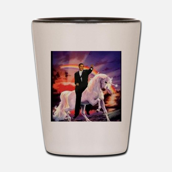 Obama on Unicorn Shot Glass