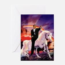 Obama on Unicorn Greeting Card