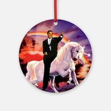 Obama on Unicorn Round Ornament