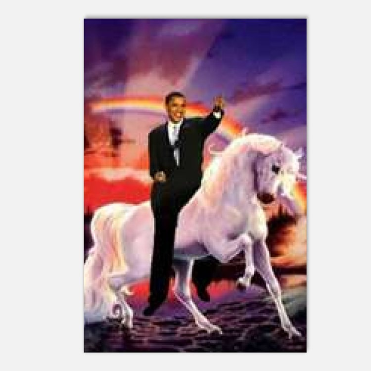Obama on Unicorn Postcards (Package of 8)
