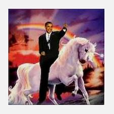 Obama on Unicorn Tile Coaster