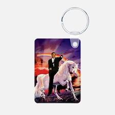 Obama on Unicorn Aluminum Photo Keychain