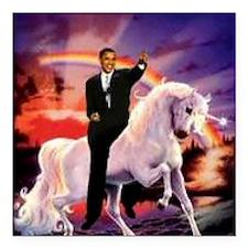 "Obama on Unicorn Square Car Magnet 3"" x 3"""