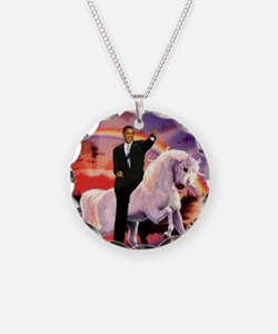 Obama on Unicorn Necklace