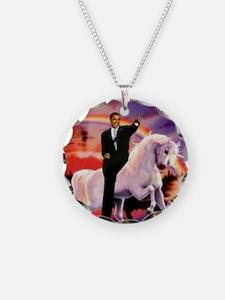 Obama on Unicorn Necklace Circle Charm
