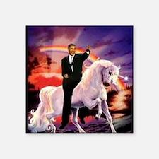 """Obama on Unicorn Square Sticker 3"""" x 3"""""""