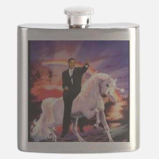 Obama on Unicorn Flask