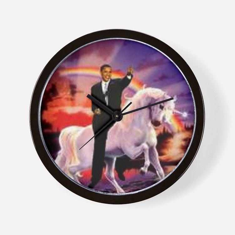 Obama on Unicorn Wall Clock