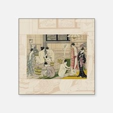 "Kiyonaga_bathhouse_women-3S Square Sticker 3"" x 3"""
