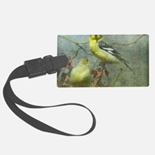 Goldfinch Pair Layered Textures Luggage Tag