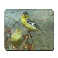 Goldfinch Pair Layered Textures Mousepad